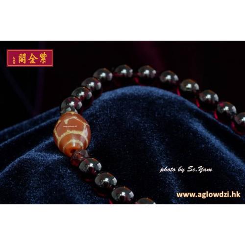 序號:1235  紅玉髓壽珠配石榴石