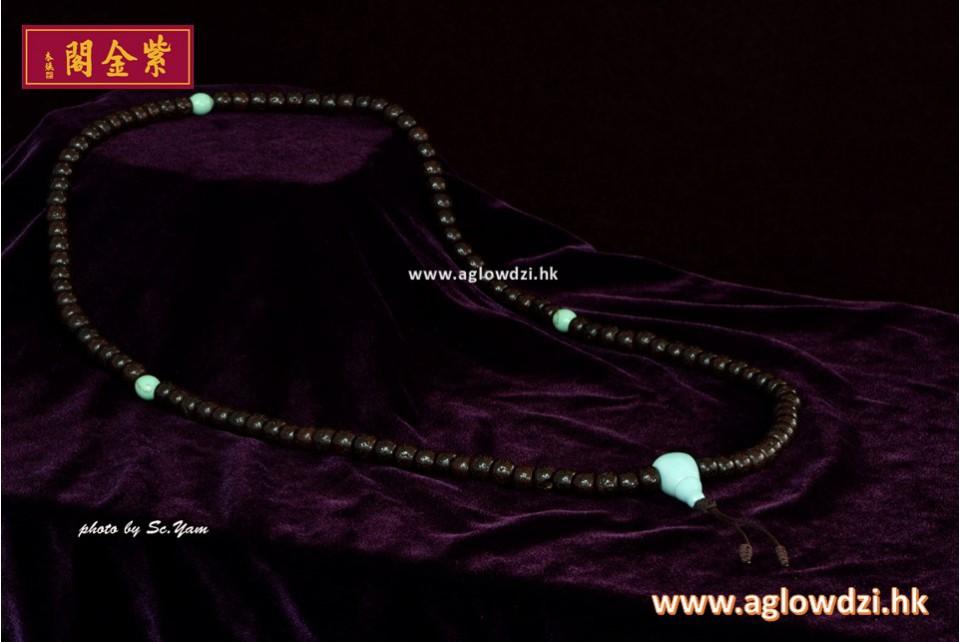 序號:1142  老星月菩提配瓷質綠松石佛頭念珠