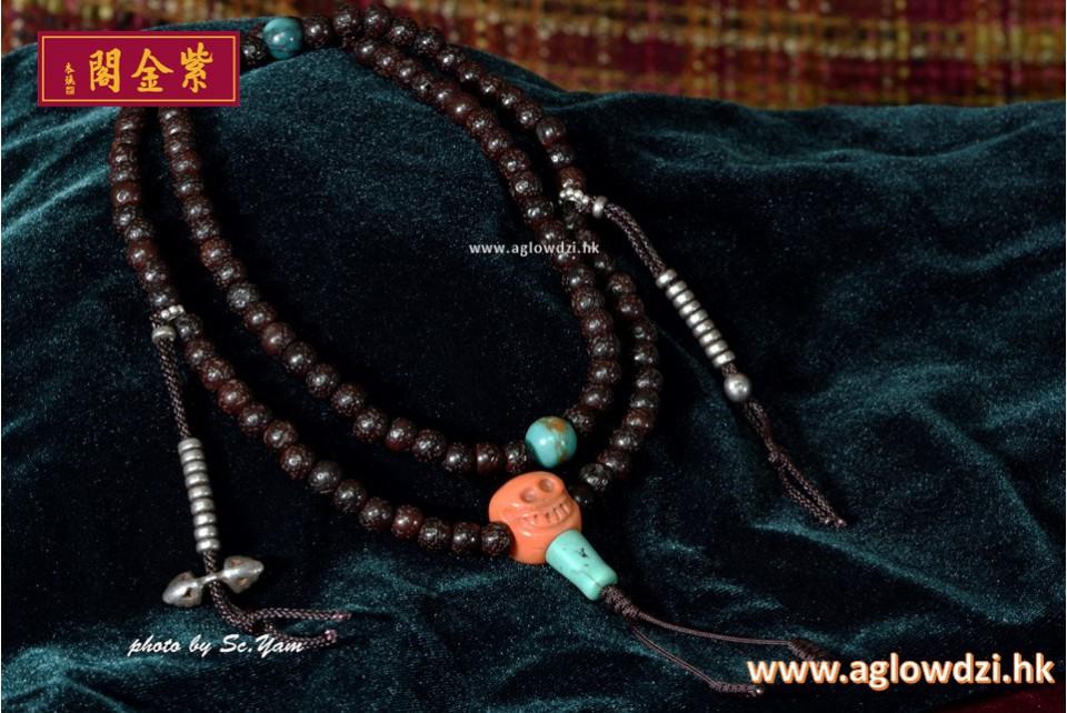 序號:1144  超細 5.5mm 108老星月菩提配老紅珊瑚、天鐵記子念珠