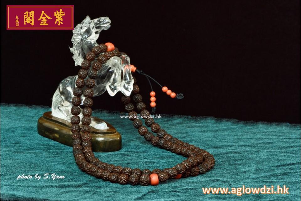 序號:1225  108子 陳年金剛子配紅珊佛頭及紅珊瑚間珠念珠