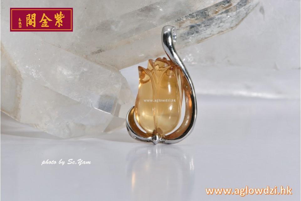 序號:1317  純銀鍍白金天然黃晶吊墜
