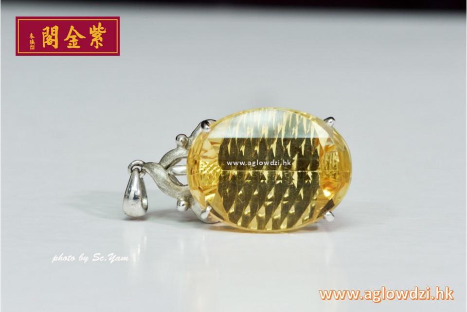 序號:1327  K白金寶石級黃晶吊墜