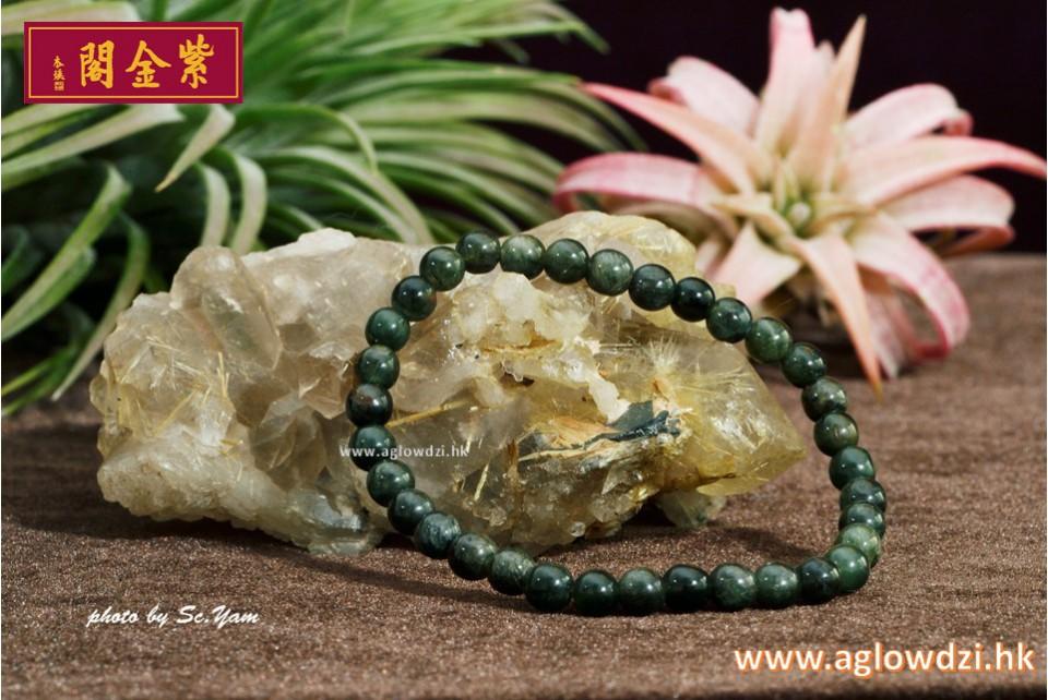 序號:1413  5mm 綠髮晶手串