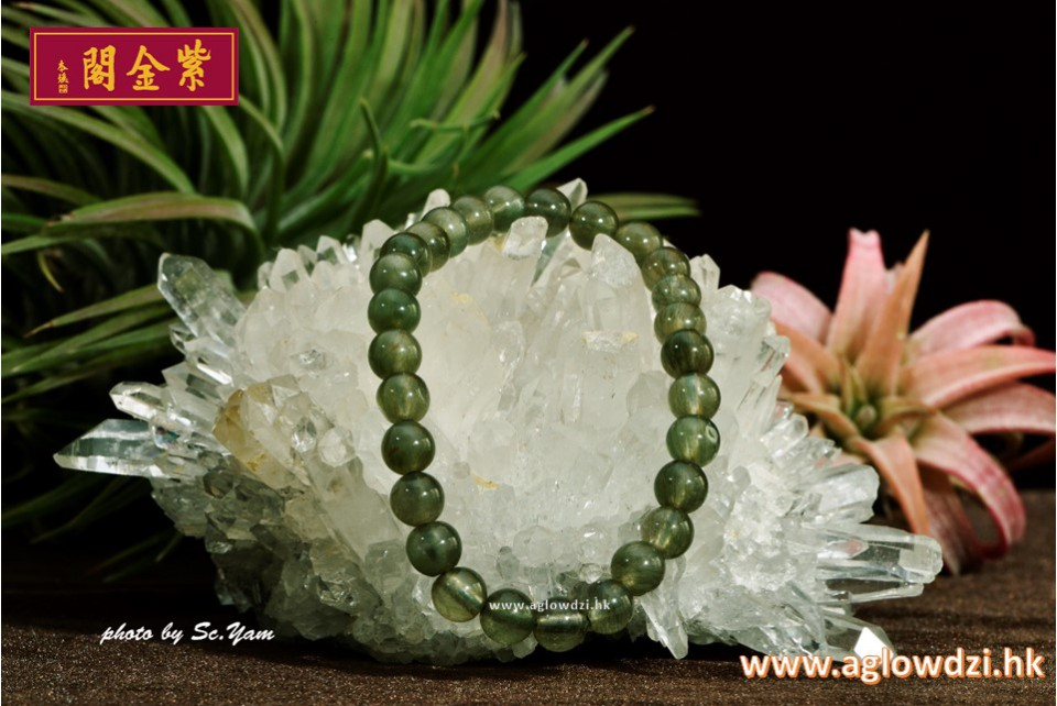 序號:1414  6mm 綠髮晶手串