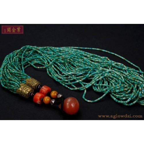 序號:1028  古稀琉璃配紅珊瑚頸串