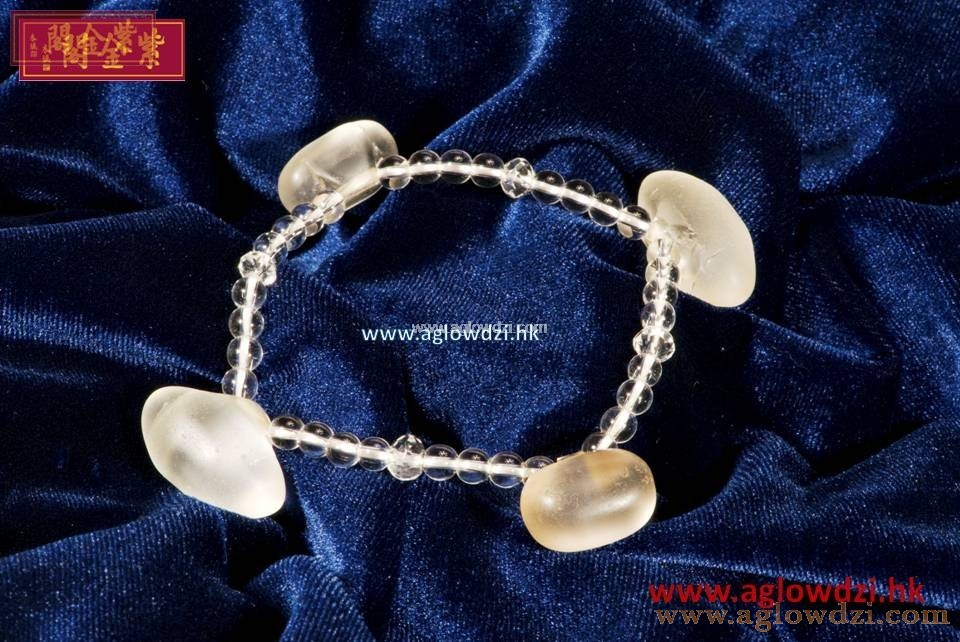 序號:300  戰國子彈水晶配白水晶手串