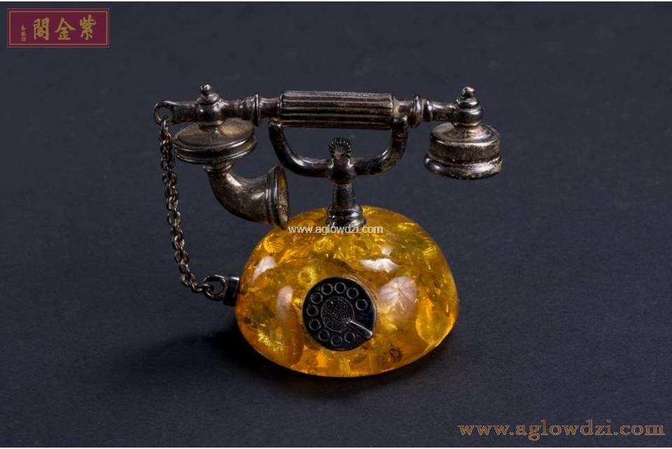 序號:318  琥珀純銀小電話