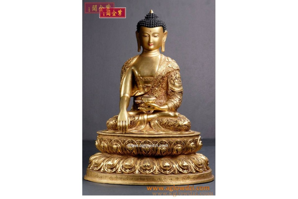 序號:334  銅鎏金釋迦牟尼佛像